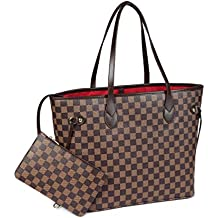 f7d4079cb Checkered Tote Shoulder Bag with inner pouch - PU Vegan Leather