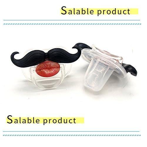 Cute /& Funny PacifiersBPA-Free Pacifier Clip B.B Mustache Pacifier 2-Pack