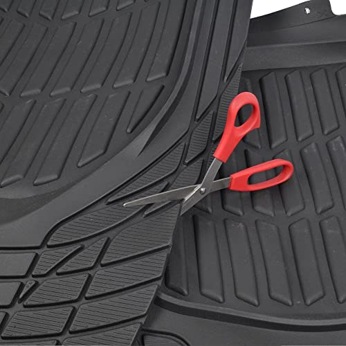 FlexTough Tortoise Shell Rubber Floor Mats Gray Heavy Duty Deep Channels for Car