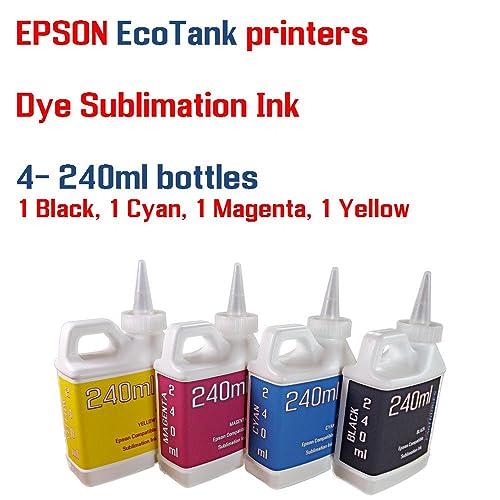 Dye Sublimation Ink 4 Multi Color 240ml Bottles - EcoTank ET-2600, ET-2650