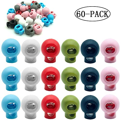 50 Pcs Plastic Single Hole Cord Locks End Spring Stop Toggle Stoppers