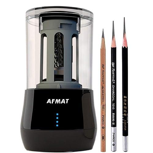 Long Point Pencil Sharpener Artist Pencil Sharpener AFMAT Drawing Pencil Sharpener for 6-8.2mm Sketching//Charcoal//Colored//Graphite Pencils for Prismacolor with Sandpaper,Adjustable Pencil Nibs,Black