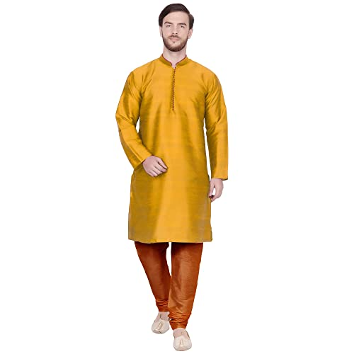Skavij Men S Tunic Art Silk Kurta Pajama Set Indian Wedding Dress