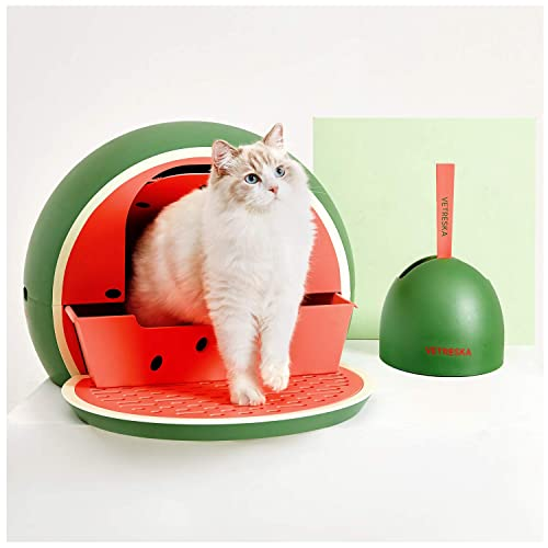 Buy Vetreska Sifting Cat Litter Box With Lid Scoop Set Enclosed Cat Litter Box Covered Designer Cat Litter Box Grenn Watermelon Online In Uae B07vf5f9lf