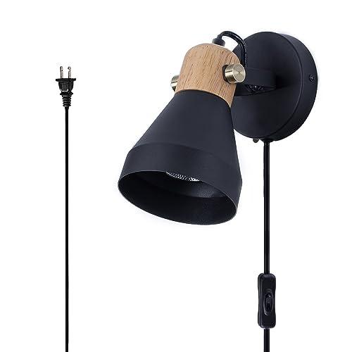Buy Tehenoo Matte Black Plug In Wall Sconce Modern Rotatable
