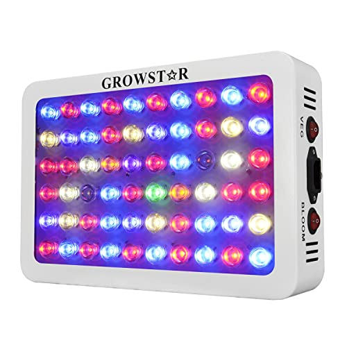 Growstar 300W LED Grow Light Full Spectrum for Flowers/Hydroponics/Indoor  Veg/Greenhouse(12 Bands,5Wx60pcs Leds)