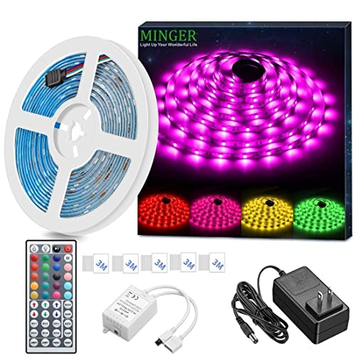 Minger Led Strip Light Waterproof 16 4ft Rgb Smd 5050 Led Rope Lighting Color Changing Full Kit With 44 Keys Ir Remote Controller Power Supply Led