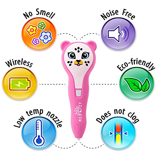 Best Toys for Kids and Teens MeDoozy 3D Pen Set Cool Arts and Crafts Girls Toys Ideal Girl Gifts for Birthday Top Science Children Present w//Animal Stickers Pink Popular Art Supplies kit