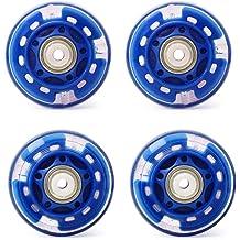Blue KINPAR 64MM Skates Light up Replacement Wheel Inline Skate Wheels High Speed Bearings Outdoor Skate Replacement Wheels,4 Pack
