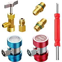 and Steam Core Remover High Low Side R1234yf Manual Connector Adapters R1234yf Quick Couplers Adapter Compatible with 1//4 inch Fitting AC Charging Hose for A//C Refrigerants Manifold Gauge Set