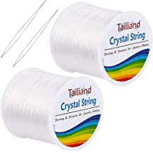 Beading and Jewelry Making Clear, 140 M URATOT 2 Roll Elastic String Crystal String Jewelry Cord 0.8 mm Clear Stretchy Bracelet Crystal Beading Thread with 2 Threading Needles for Bracelet