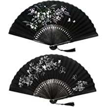 Blue Portable Bamboo Folding Fan Portable Fan Ryumei 9.06 23cm Womens Clothing Womens Best Gift Fan Shaped Jade Pendant Chinese//Japanese Style Charming Elegant Retro Style