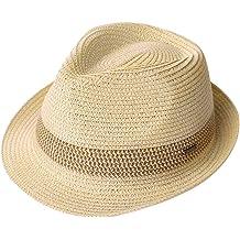 9478ddecc Packable Straw Fedora Panama Sun Summer Beach Hat Cuban Trilby Men Women  55-61cm