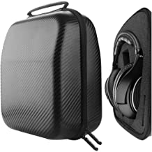 Black Pebble Leather, Gold Zipper Sennheiser Bang /& Olufsen Play Geekria Elite Leather Headphones Pouch//Carrying Case//Travel Bag for Bose Skullcandy ATH AKG Cowin E-7 Sony