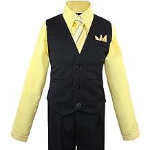 d694d69566e Luca Gabriel Toddler Boys  39  4 Piece Vest Shirt Tie Pant and Hanky Set
