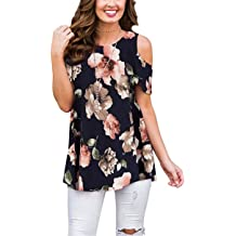 323845cca49 Luranee Womens Cold Shoulder Shirts Short Sleeve Crew Neck Floral Tunic Tops