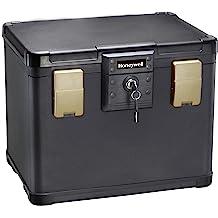 Black 0.23-Cubic Feet 6113 Deluxe Key Lock Cash Box Honeywell Safes /& Door Locks